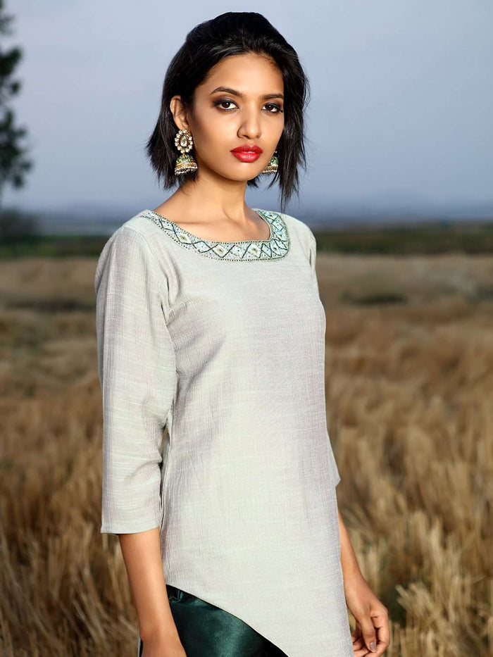 Right Side Sea Green Embellished Chiffon & Silk Straight Kurta Set