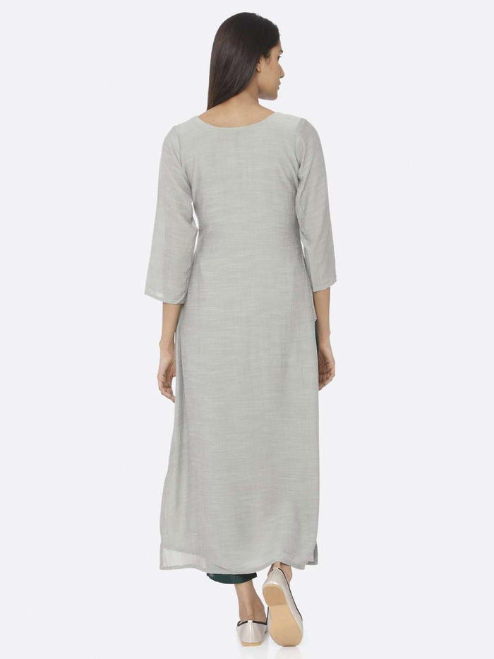 Back Side Sea Green Embellished Chiffon & Silk Straight Kurta Set