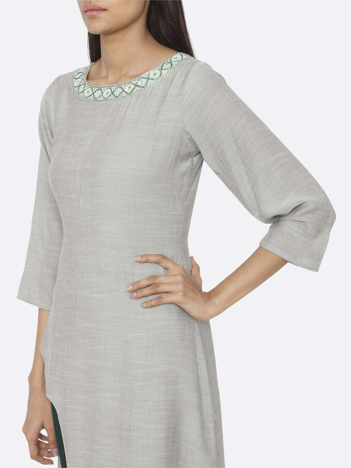 Left Side Embellished Chiffon & Silk Straight Kurta Set With Sea Green Color