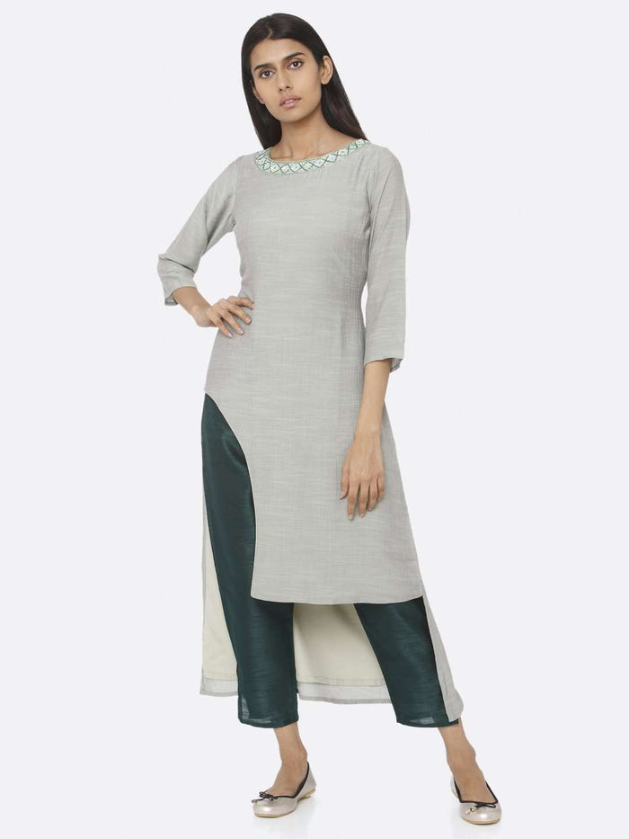 Casual Sea Green Embellished Chiffon & Silk Straight Kurta Set