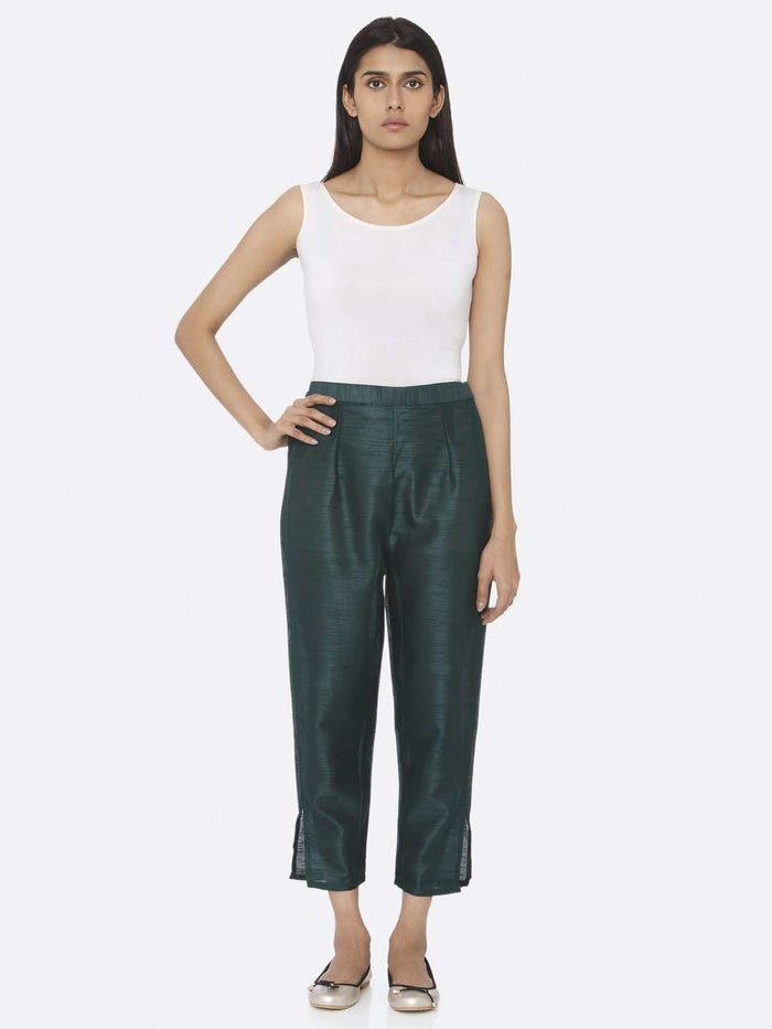 Front Side Silk Straight Pant With Sea Green Color