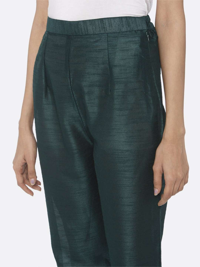 Left Side Silk Straight Pant With Sea Green Color