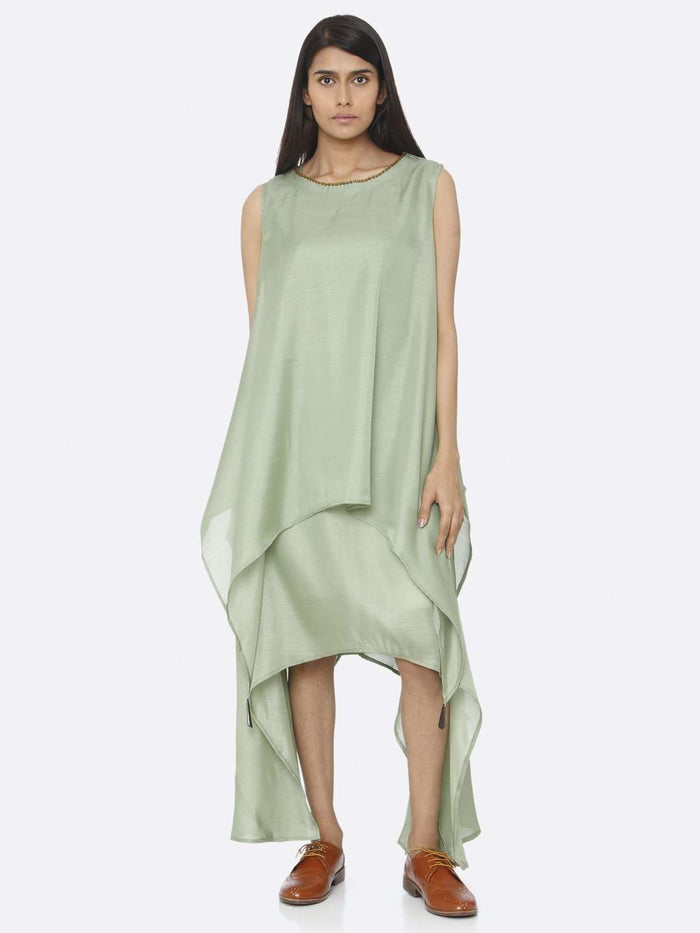 Solid Silk A-Line Dress With Green Color