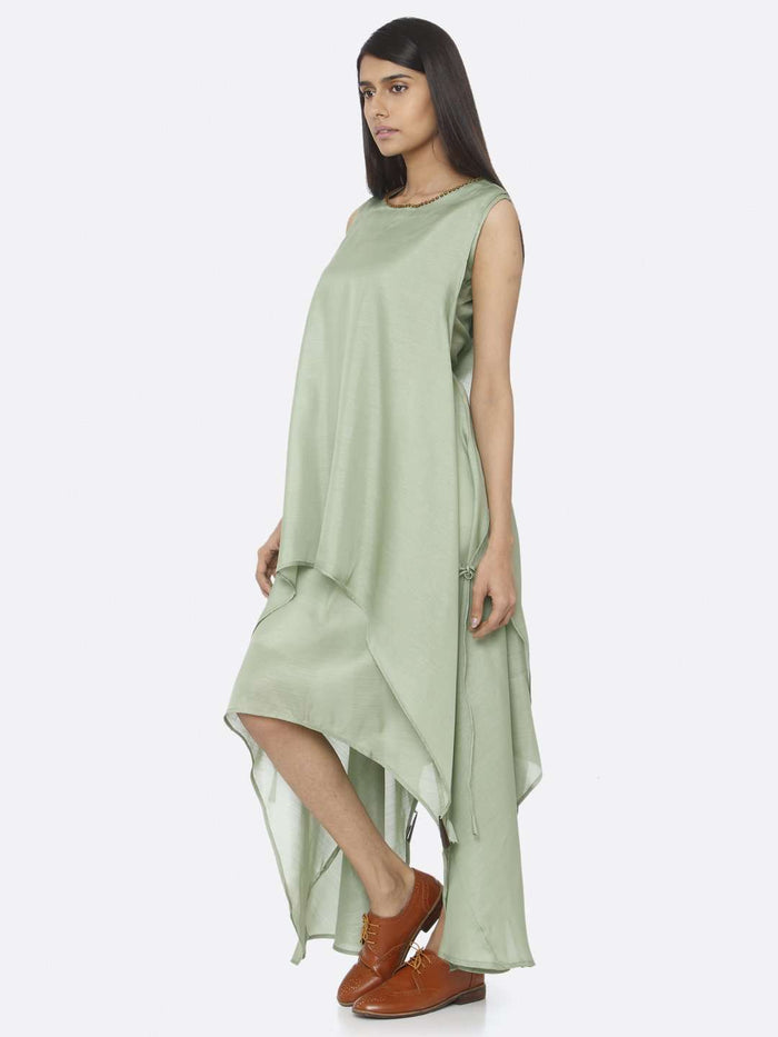 Left Side Green Solid Silk A-Line Dress