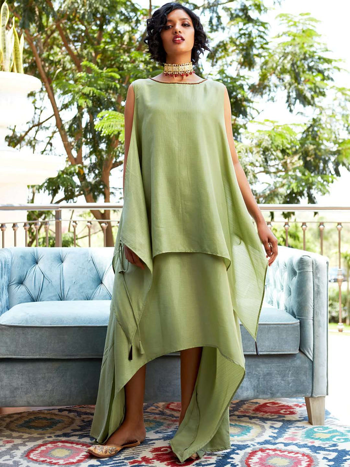 Front Side Solid Silk A-Line Dress With Green Color