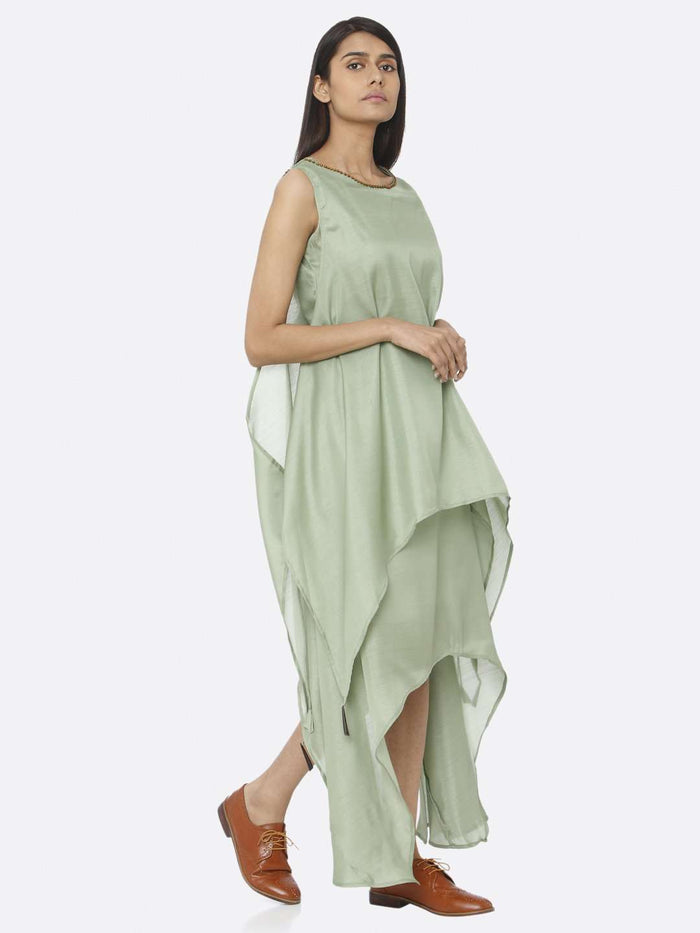Right Side Green Solid Silk A-Line Dress