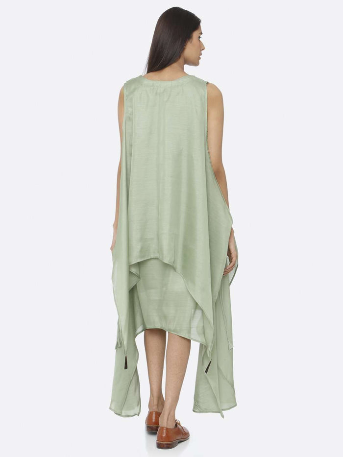 Back Side Green Solid Silk A-Line Dress