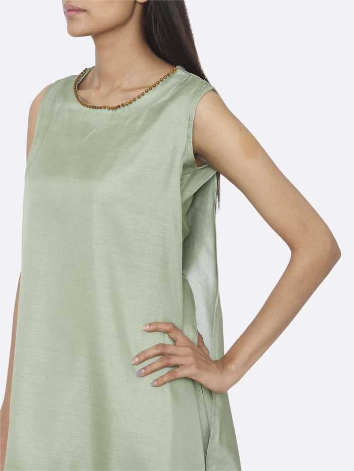 Left Side Solid Silk A-Line Dress With Green Color
