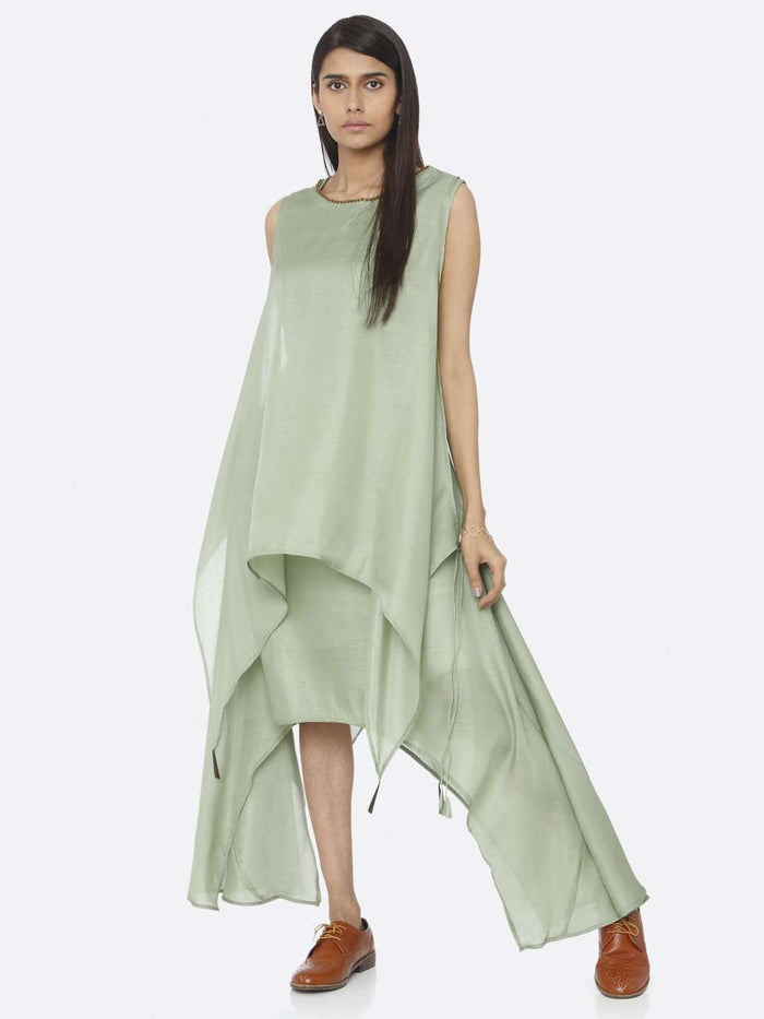 Casual Green Solid Silk A-Line Dress