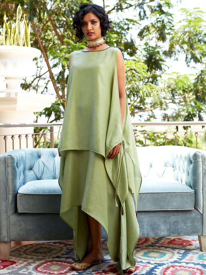 Green Solid Silk A-Line Dress