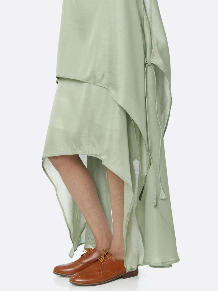 Down Side Green Solid Silk A-Line Dress