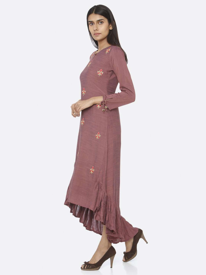 Left Side Purple Embroidered Liquid Georgette A-Line Dress