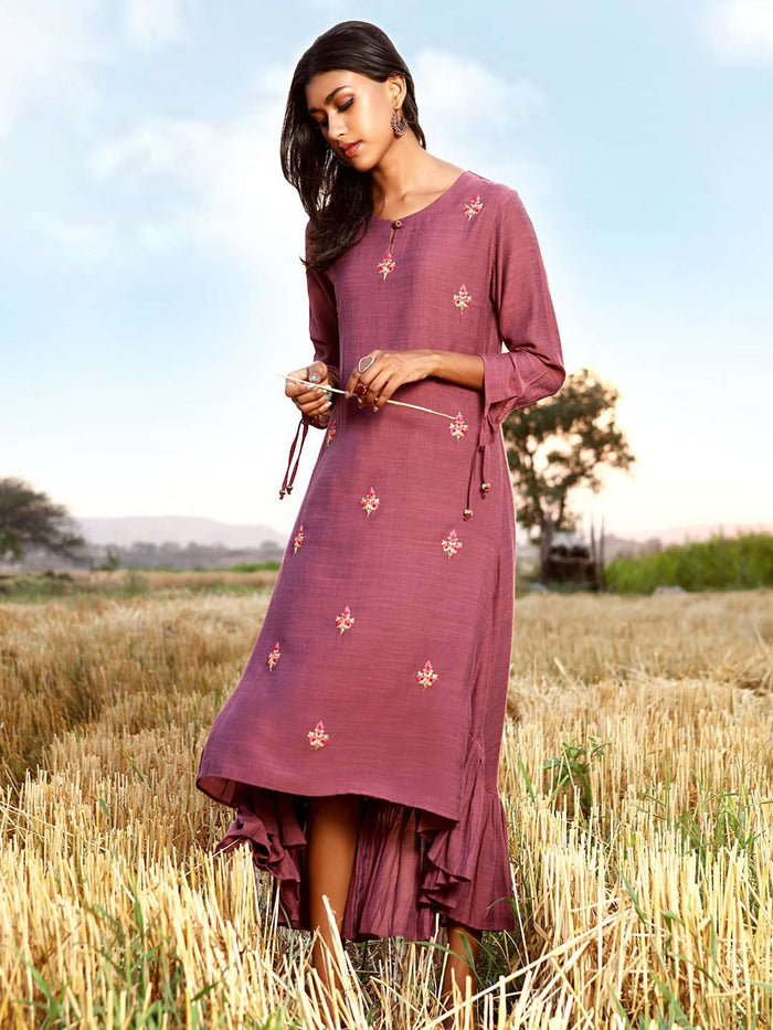 Left Side Embroidered Liquid Georgette A-Line Dress With Purple Color