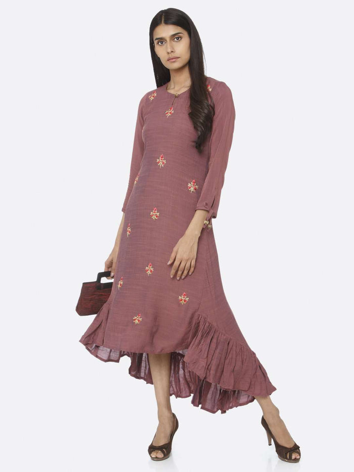 Casual Purple Embroidered Liquid Georgette A-Line Dress