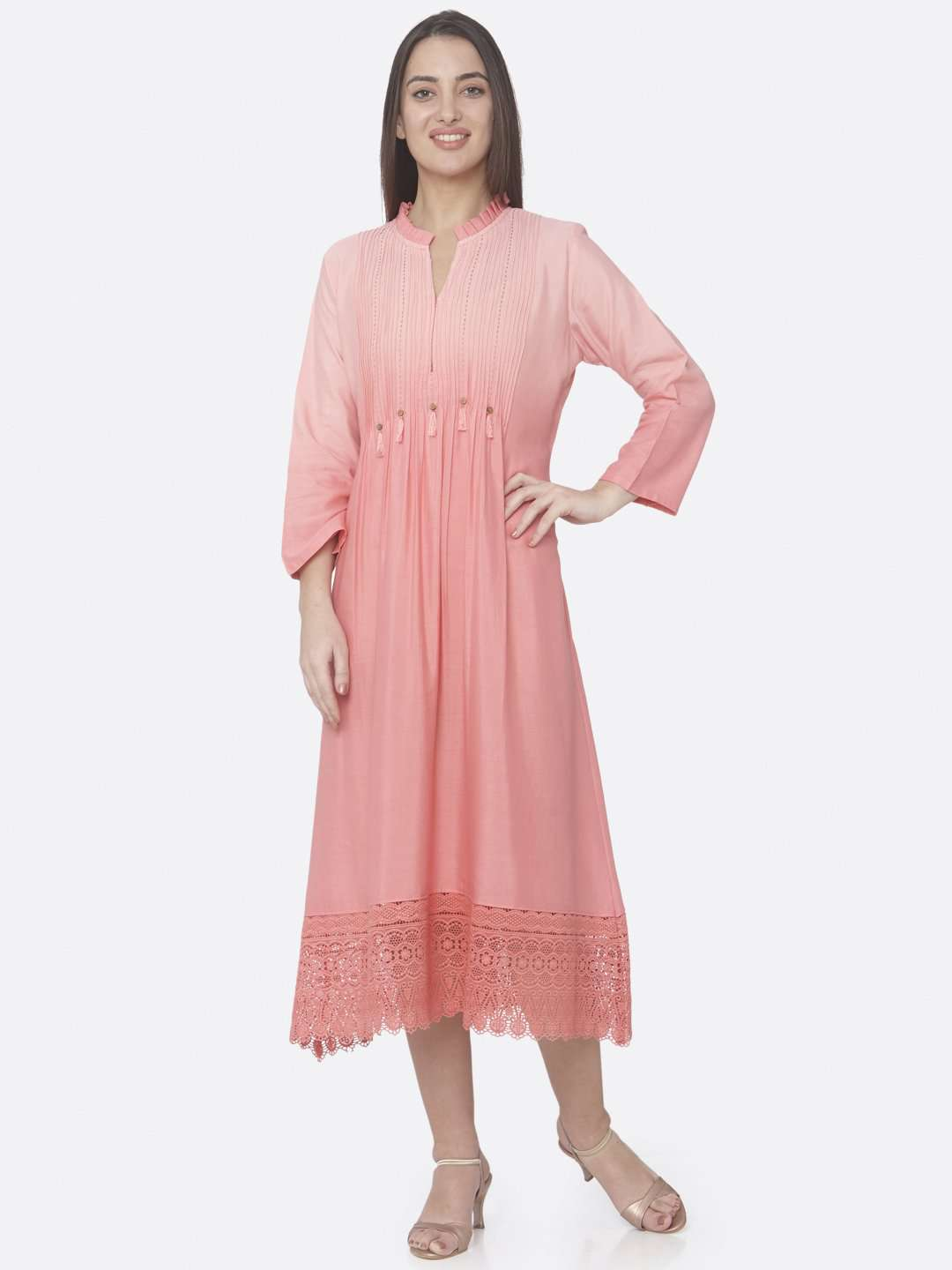 Front Side Peach Embellished Cotton A-Line Maxi Dress