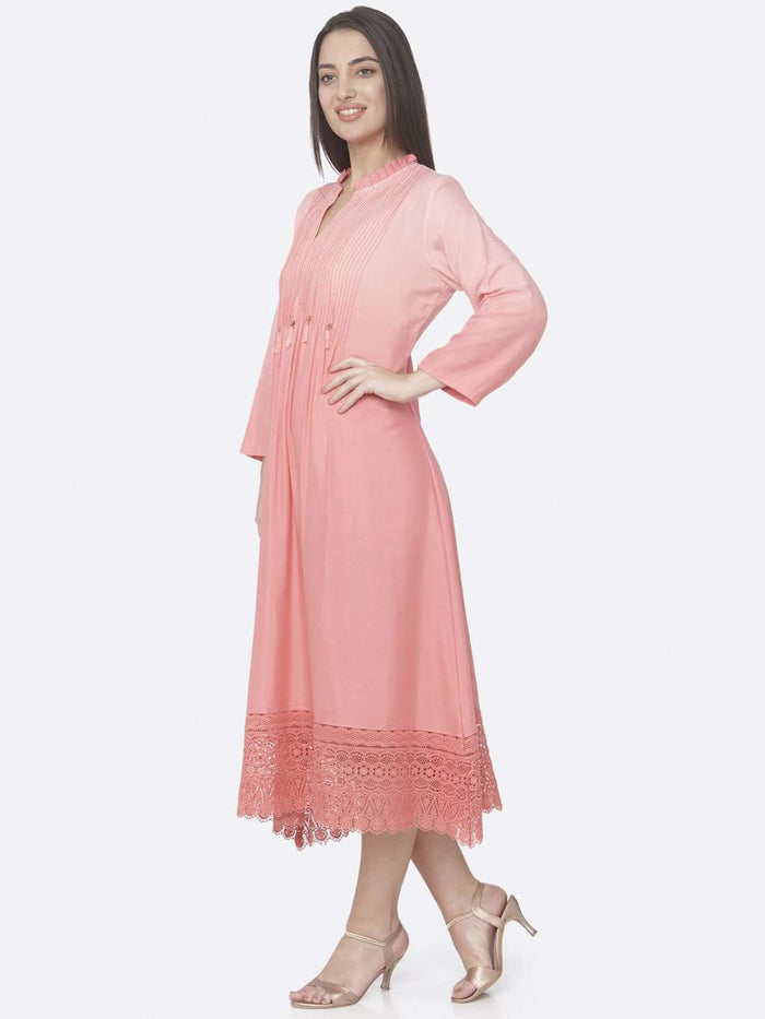 Left Side Peach Embellished Cotton A-Line Maxi Dress