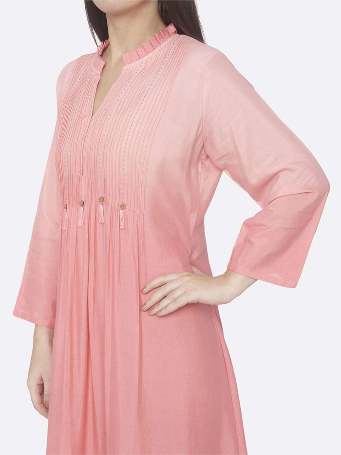 Left Side Embellished Cotton A-Line Dress With Peach Color
