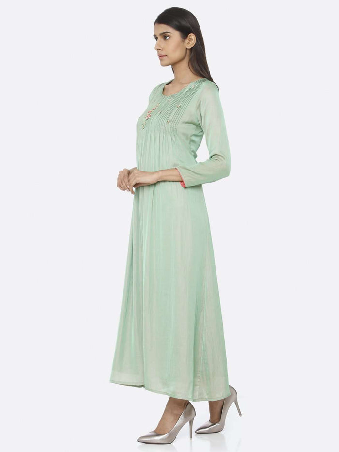 Left Side Green Embellished Silk A-Line Maxi Dress With Green Color