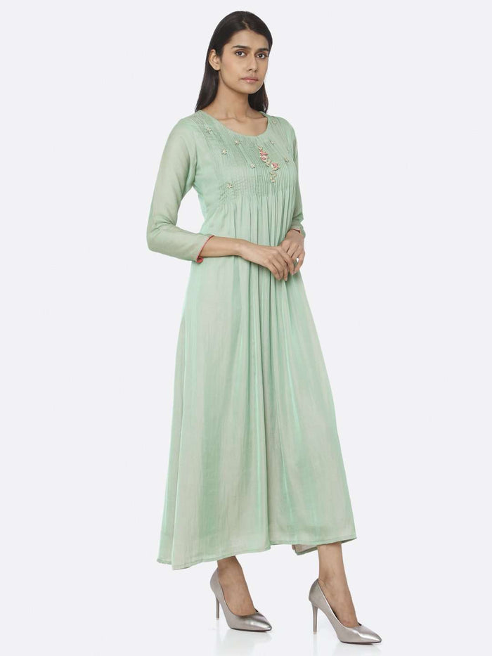 Right Side Green Embellished Silk A-Line Maxi Dress