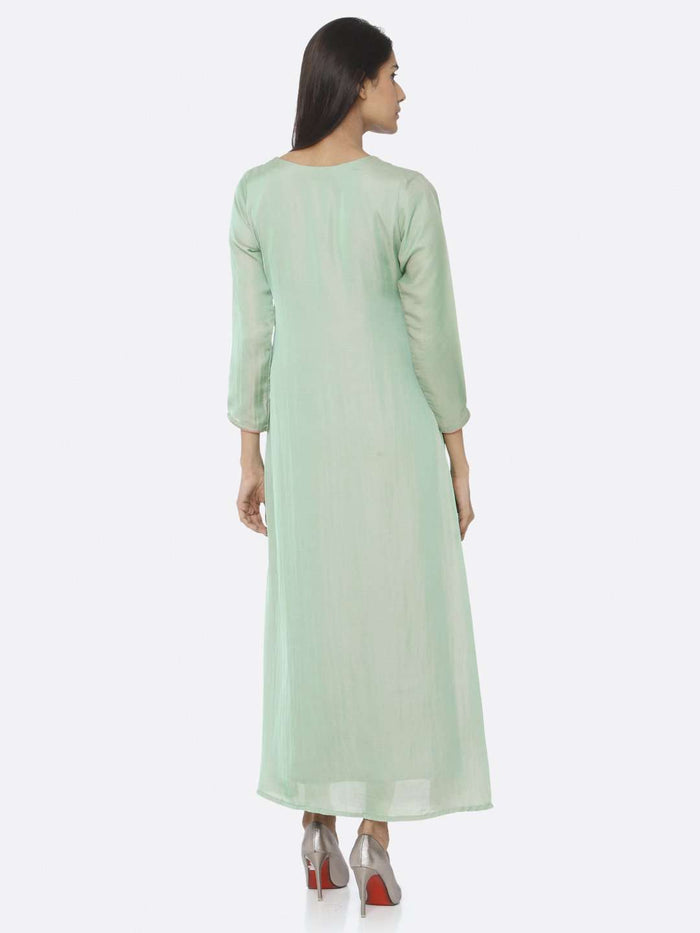 Back Side Green Embellished Silk A-Line Maxi Dress