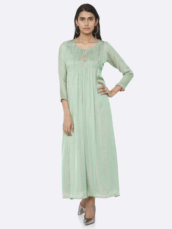 Front Side Embellished Silk A-Line Maxi Dress With Green Color