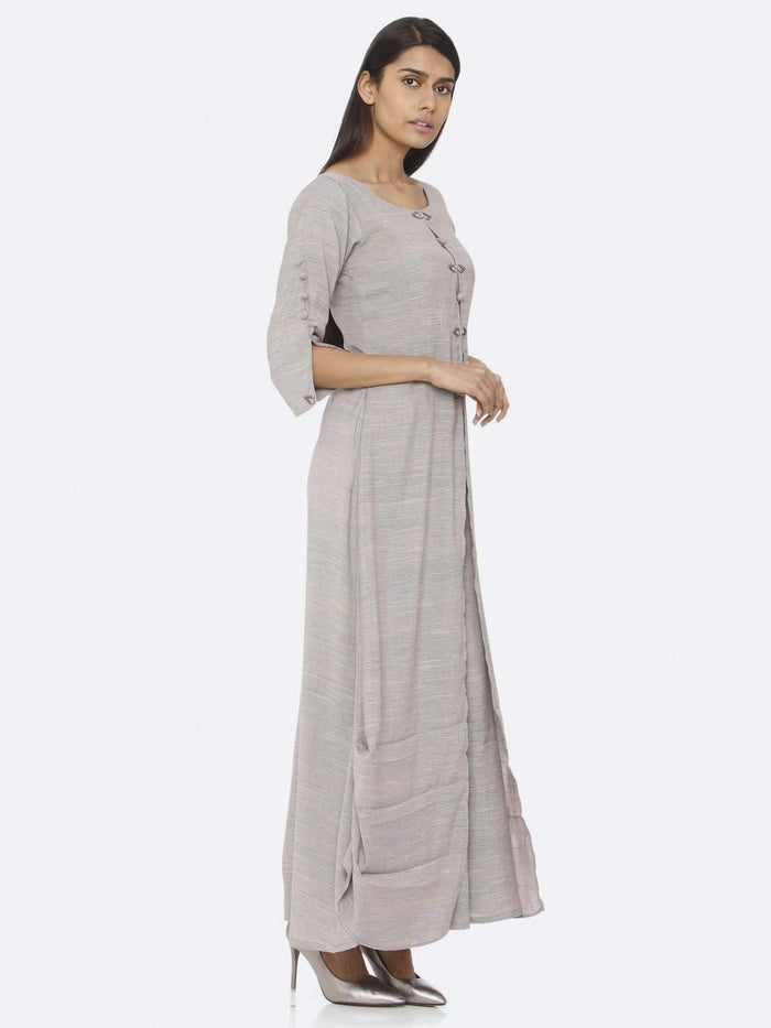 Right Side Grey Embellished Cotton A-Line Maxi Dress