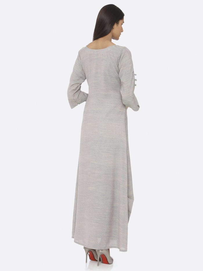 Back Side Grey Embellished Cotton A-Line Maxi Dress