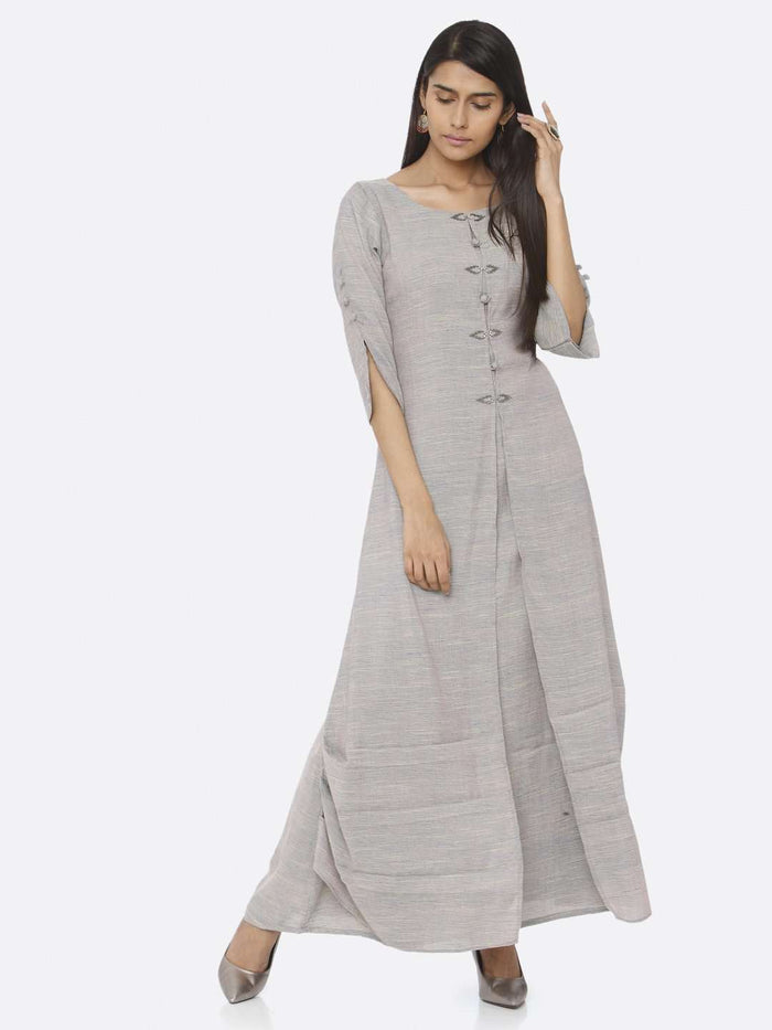 Casual Grey Embellished Cotton A-Line Maxi Dress