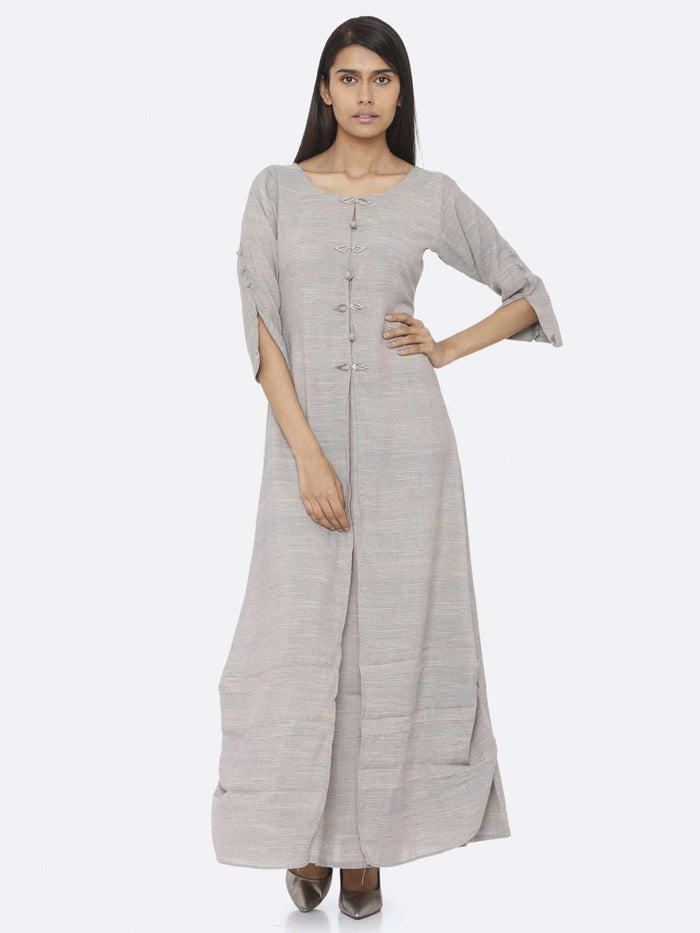 Grey Embellished Cotton A-Line Maxi Dress