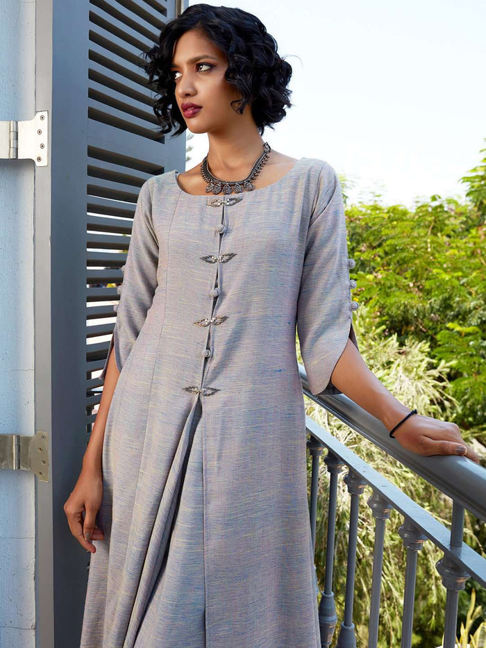 Front Side Embellished Cotton A-Line Dress With Grey Color