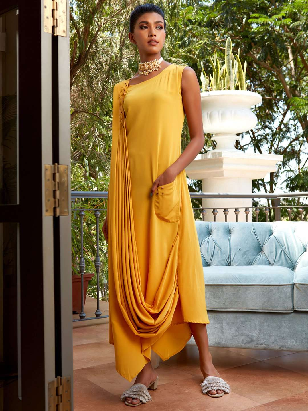 Front Side Yellow Embellished Silk Draped A-Line Kurta Maxi Dress