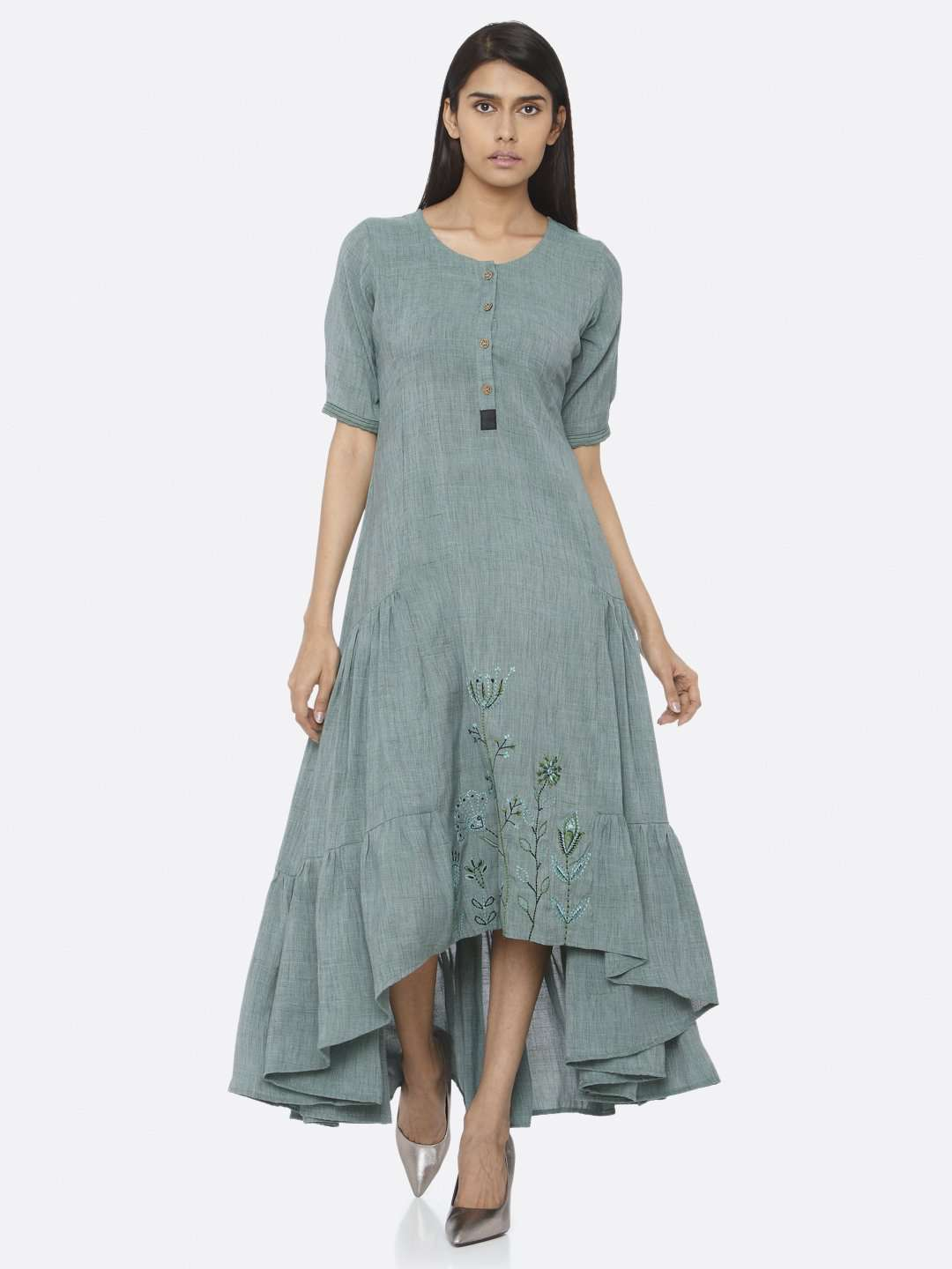 Front Side Rusty Green Embroidered Rayon Two Tone A-Line Dress