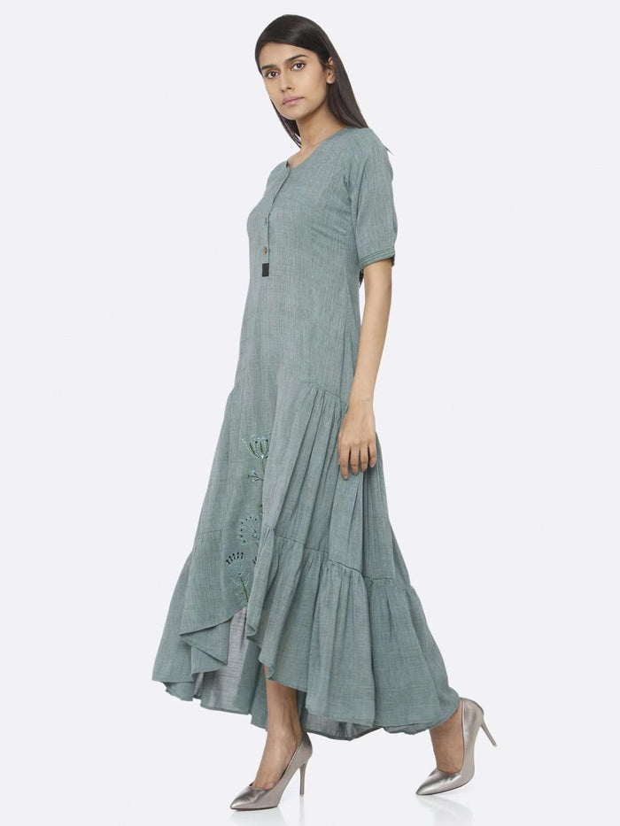 Left Side Rusty Green Embroidered Rayon Two Tone A-Line Dress