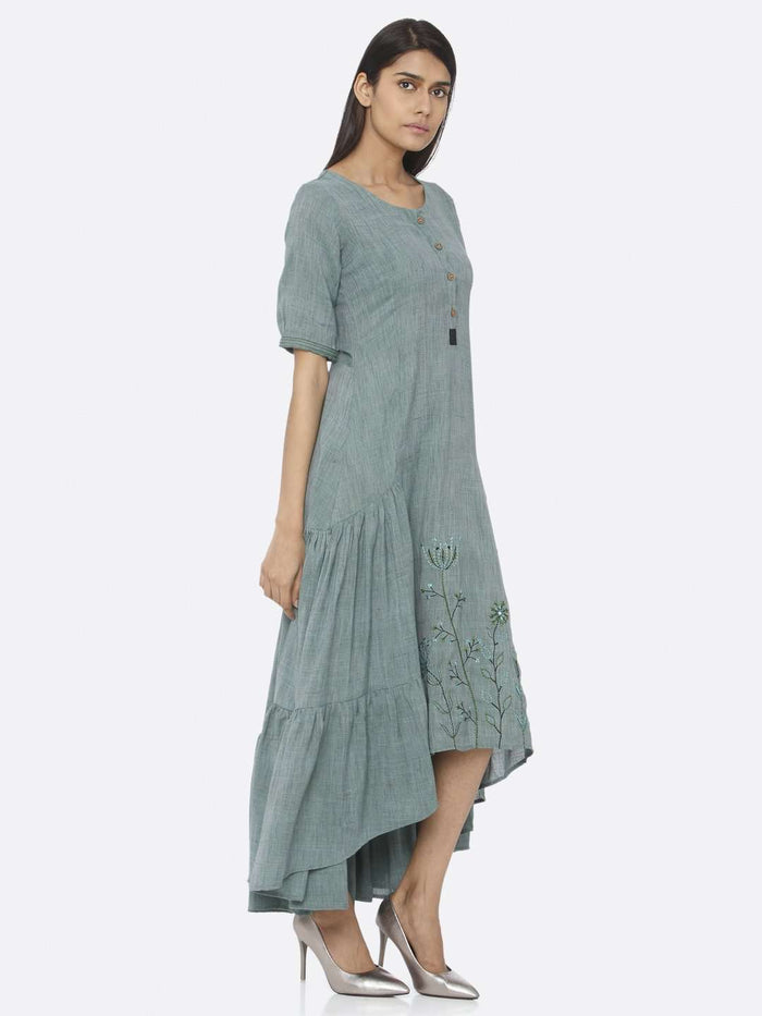 Right Side Rusty Green Embroidered Rayon Two Tone A-Line Dress