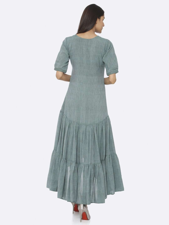 Back Side Rusty Green Embroidered Rayon Two Tone A-Line Dress