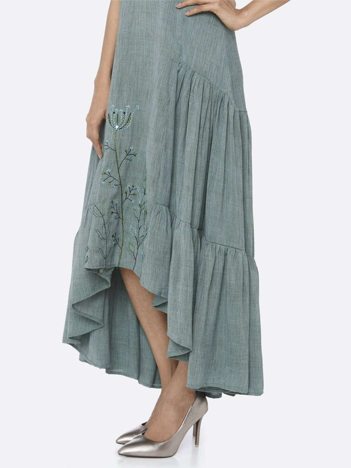 Down Side Rusty Green Embroidered Rayon Two Tone A-Line Dress