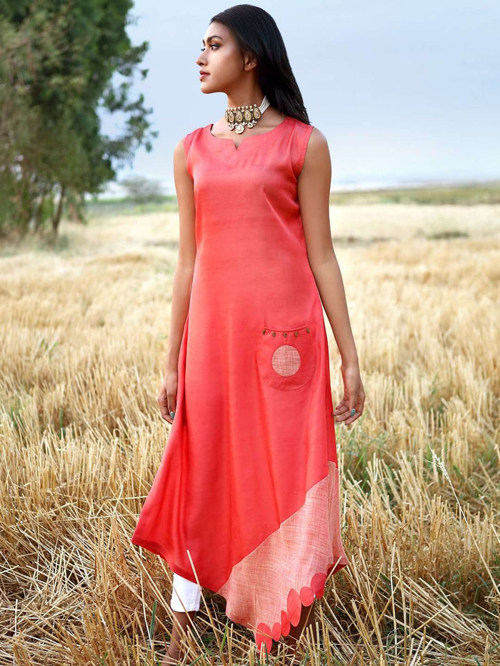 Red Solid Satin A-Line Dress