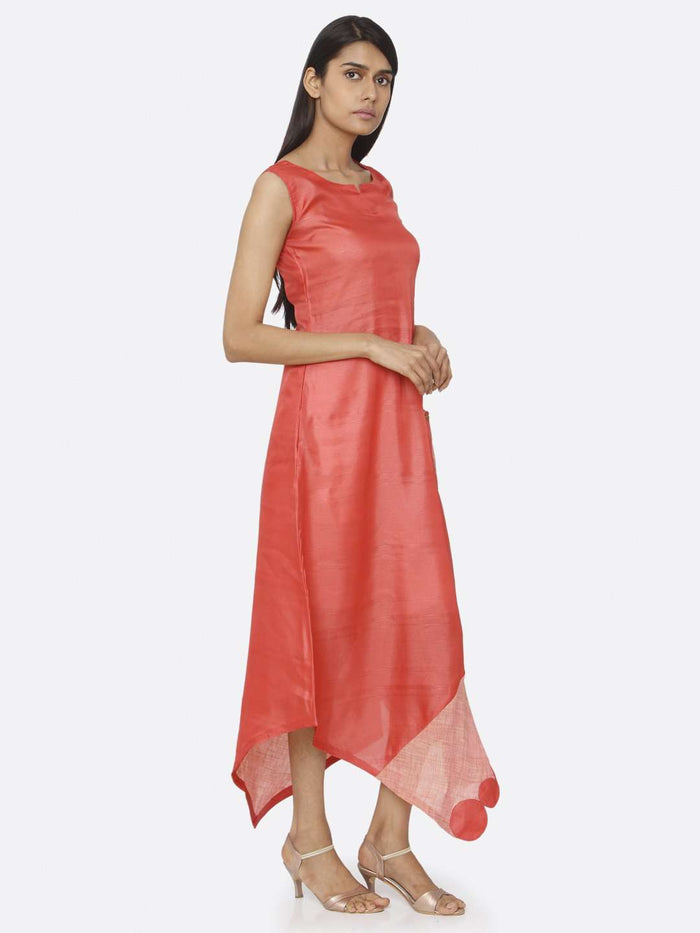 Right Side Red Solid Satin A-Line Dress