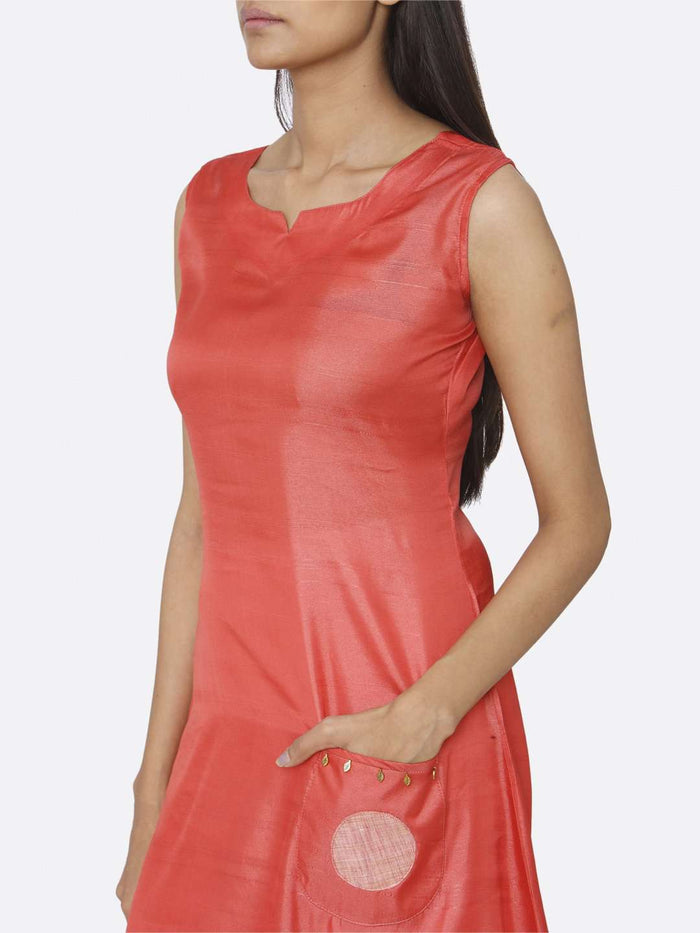 Left Side Solid Satin Rayon Dress With Red Color