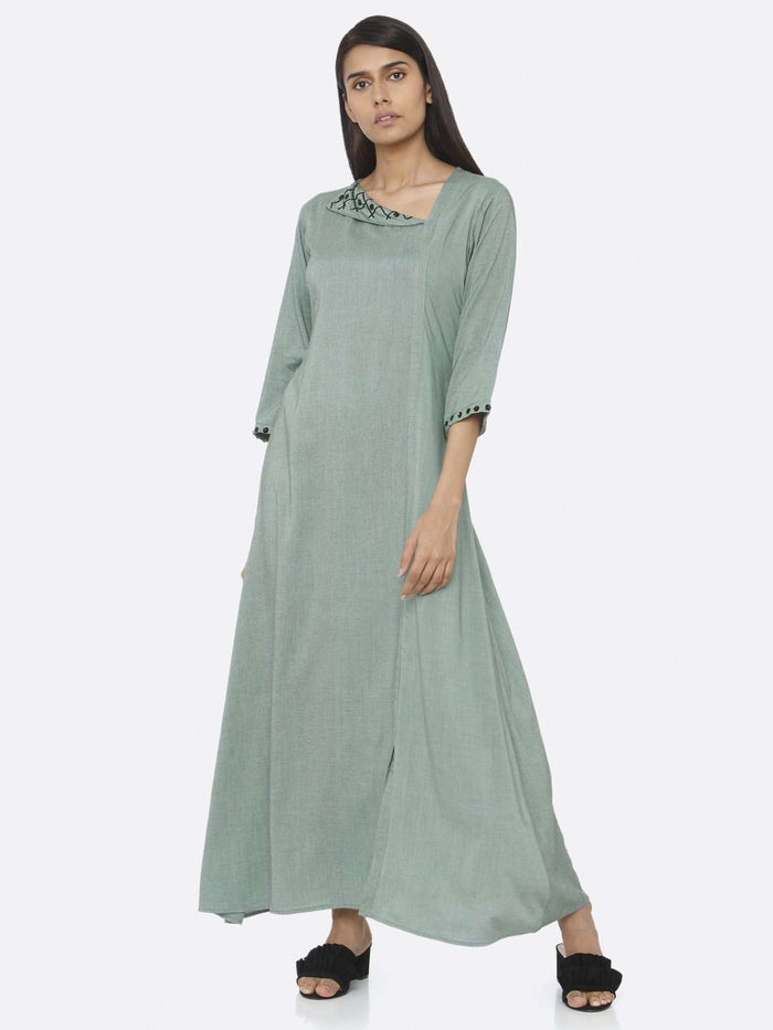 Casual Wear Green Embellished Viscose Liva A-Line Maxi Dress