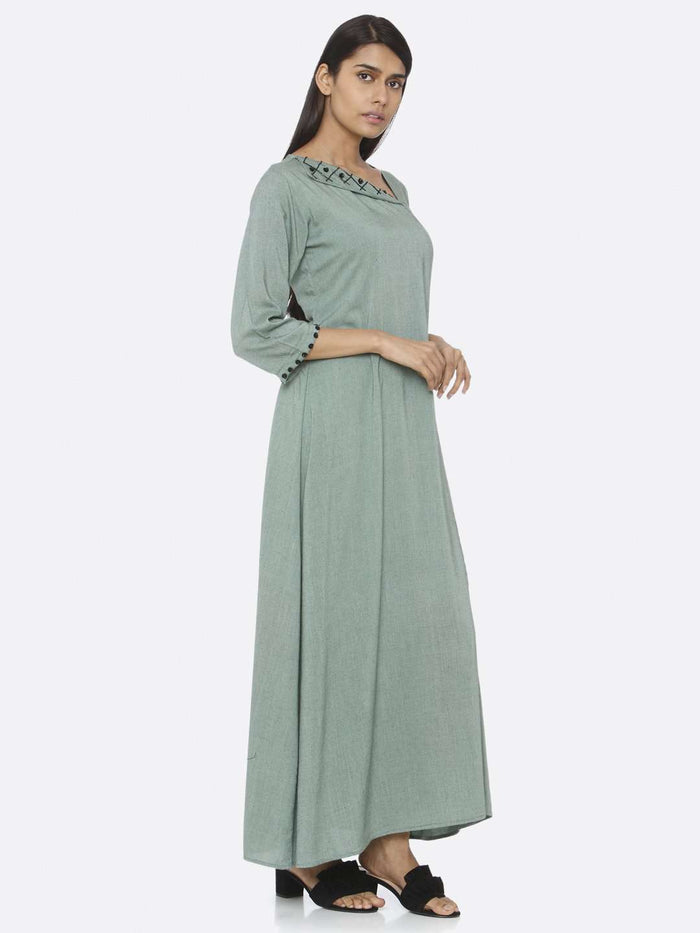 Right Side Green Embellished Viscose Liva A-Line Maxi Dress