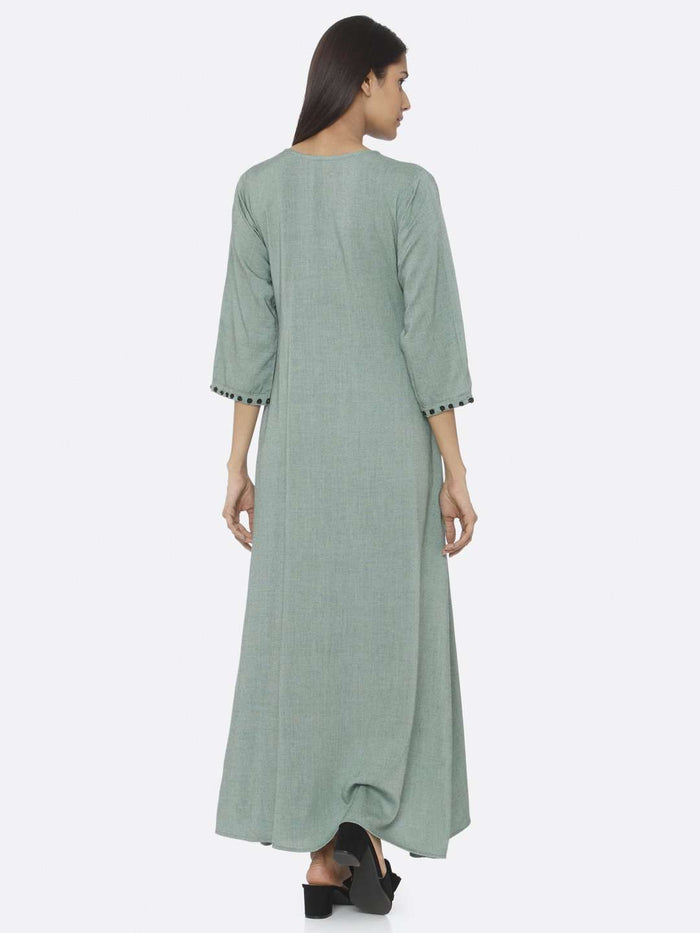 Back Side Green Embellished Viscose Liva A-Line Maxi Dress