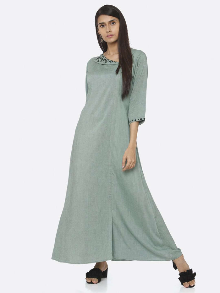 Half Sleeve Green Embellished Viscose Liva A-Line Maxi Dress