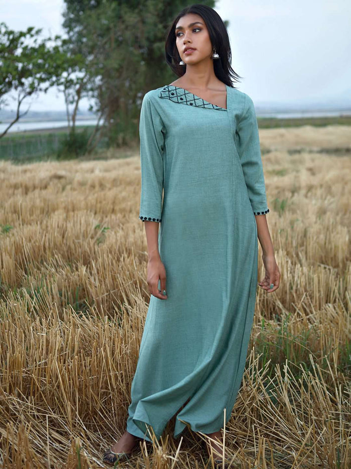 Front Side Green Embellished Viscose Liva A-Line Maxi Dress
