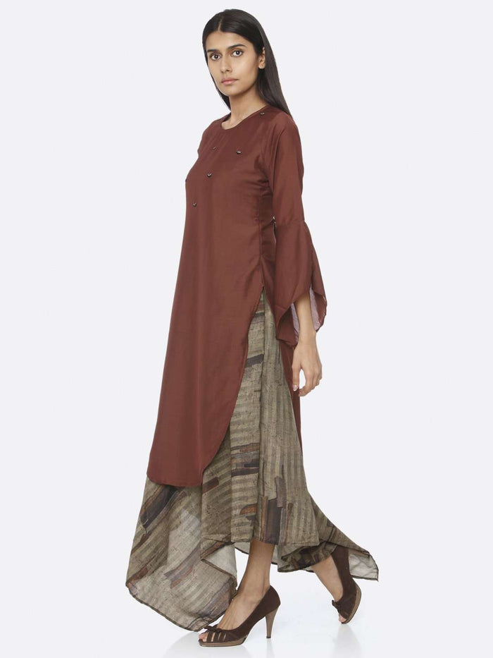Left Side Rust Embellished Silk A-Line Maxi Dress