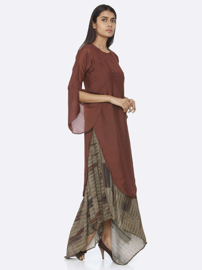 Right Side Rust Embellished Silk A-Line Maxi Dress