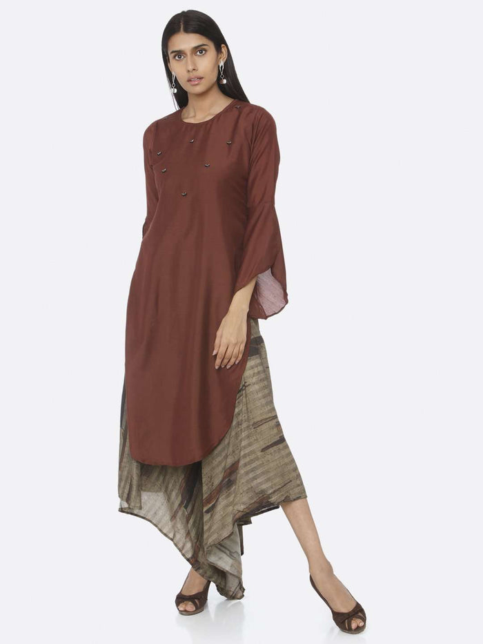 Front Side Casual Embellished Silk A-Line Maxi Dress With Rust Color