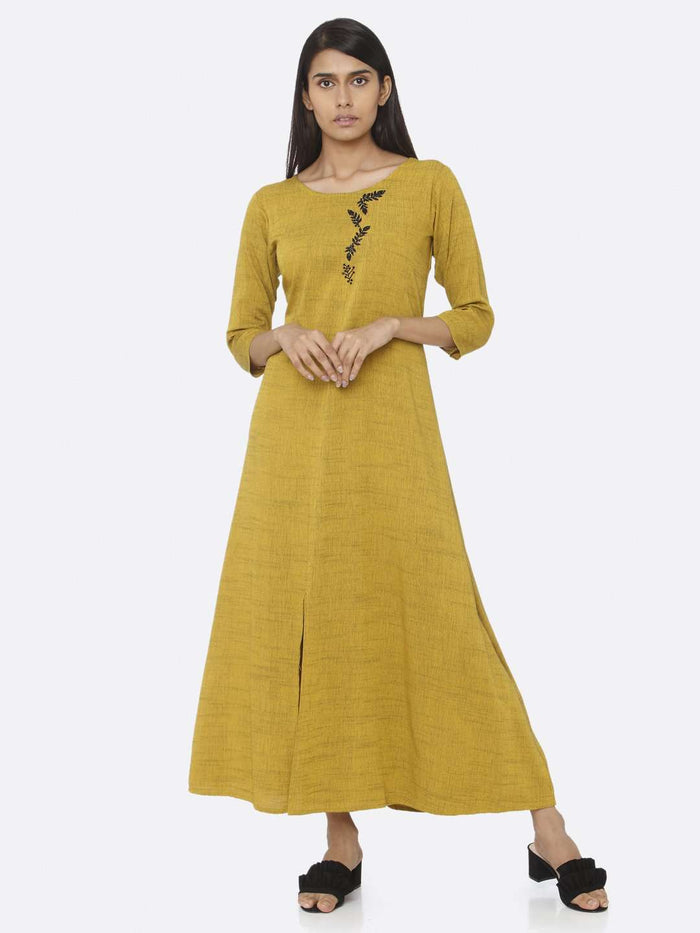 Front Side Embellished Rayon A-Line Maxi Dress With Mustard Color