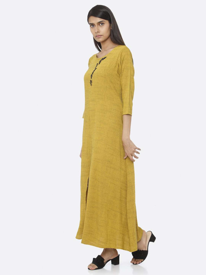 Left Side Mustard Embellished Rayon A-Line Maxi Dress