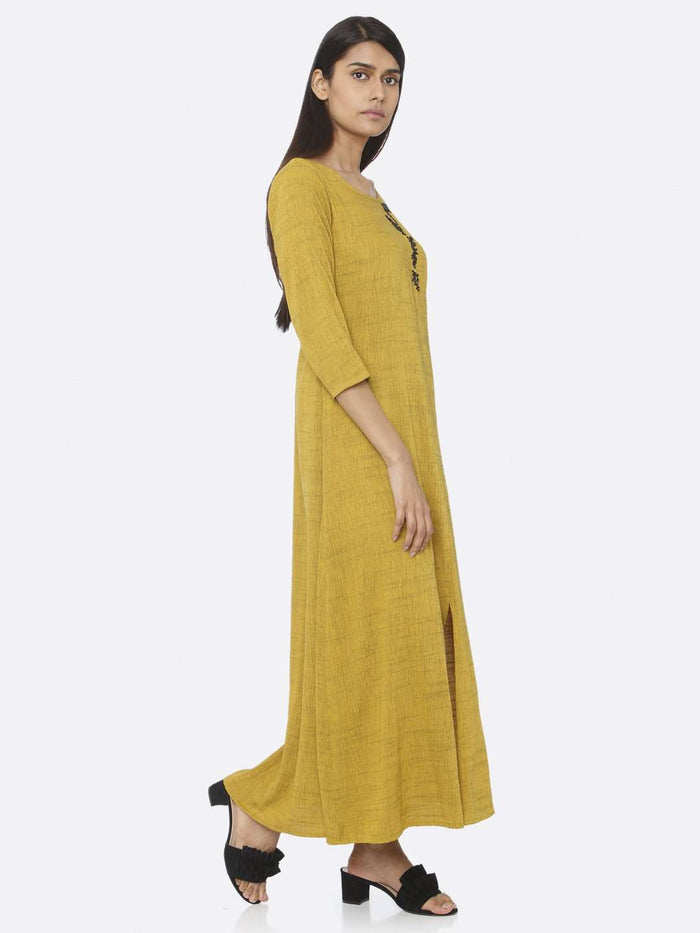 Right Side Mustard Embellished Rayon A-Line Maxi Dress